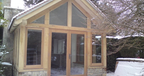 Green Oak Conservatory Extension on House