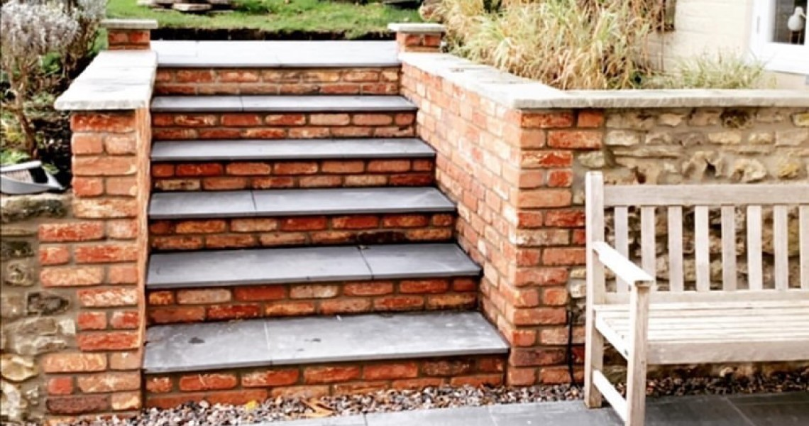 Red brick and porcelain steps