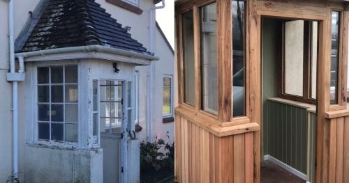 Green oak and cedar porch upgrade